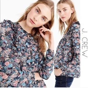 J.Crew Floral Ruffle Long Sleeve Top (size S)